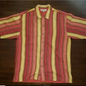 Tommy Bahama Shirts - Tommy Bahama L Striped Linen Mens Button Up Shirt